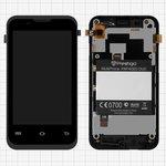 Дисплей для Prestigio MultiPhone 4020 Duo, чорний, із сенсорним екраном, з передньою панеллю, Original