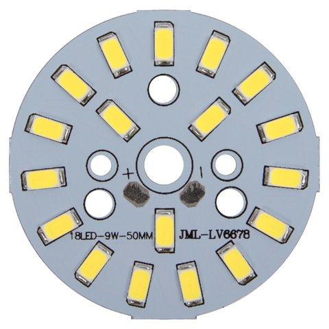 Плата со светодиодами 9 Вт (холодный белый, 1080 лм, 50 мм)