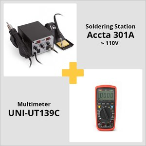 Combo: Accta 301A Hot Air Rework Station (110 V) + UNI-T UT139C Digital Multimeter